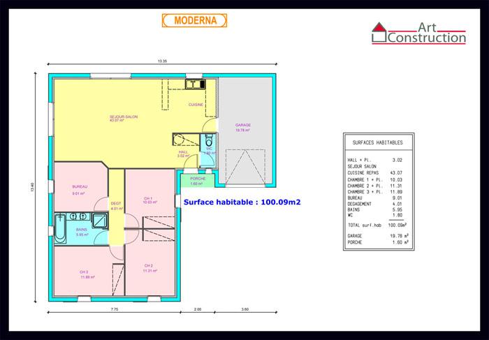 plan maison moderne plain pied Moderna